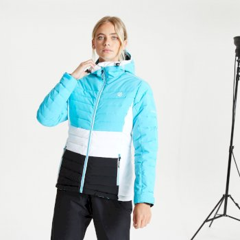 Dare 2b - Women's Succeed Waterproof Insulated Quilted Hooded Ski Jacket Azure Blue Black