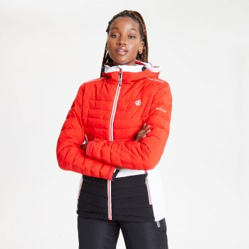 Dare 2b - Women's Succeed Waterproof Insulated Quilted Hooded Ski Jacket Seville Red Black White