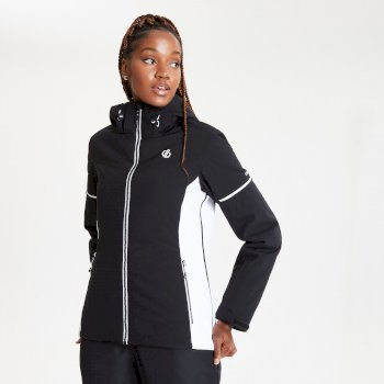 Dare 2b - Women's Enclave Waterproof Insulated Hooded Ski Jacket Black White