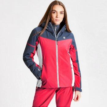 Dare 2b - Women's Enclave Waterproof Insulated Hooded Ski Jacket Neon Pink Dark Denim
