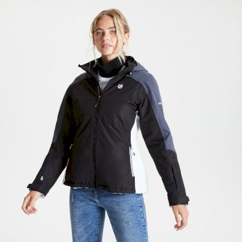Dare 2b - Women's Radiate Waterproof Insulated Hooded Ski Jacket Black Ebony Grey