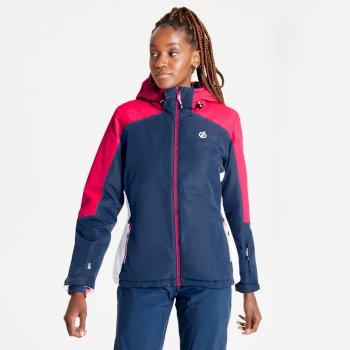 Dare 2b - Women's Radiate Waterproof Insulated Hooded Ski Jacket Dark Denim Neon Pink