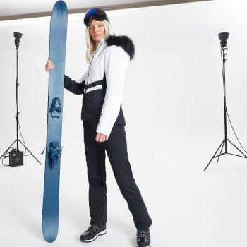 Damska kurtka narciarska Dare2B Bejewel zdobiona kryształkami Swarovski biała