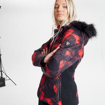 Dare 2b - Swarovski Embellished - Women's Auroral Waterproof Insulated Fur Trim Hooded Luxe Ski Jacket Seville Red