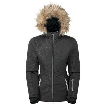 Dare 2b - Swarovski Embellished - Women's Auroral Waterproof Insulated Fur Trim Hooded Luxe Ski Jacket Black