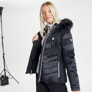 Dare 2b - Swarovski Embellished - Women's Dazzling Waterproof Insulated Quilted Fur Trim Hooded Luxe Ski Jacket Black