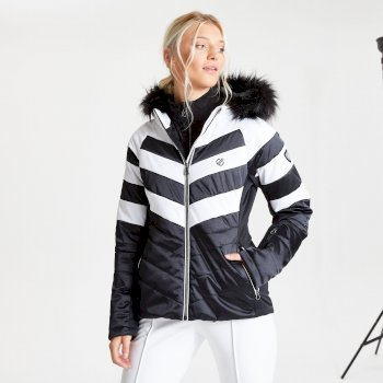 Dare 2b - Women's Dazzling Waterproof Insulated Quilted Fur Trim Hooded Luxe Ski Jacket Black White
