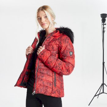 Dare 2b - Swarovski Embellished - Women's Glamorize II Waterproof Insulated Quilted Fur Trim Hooded Luxe Ski Jacket Seville Red