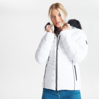 Dare 2b - Swarovski Embellished - Women's Glamorize II Waterproof Insulated Quilted Fur Trim Hooded Luxe Ski Jacket White