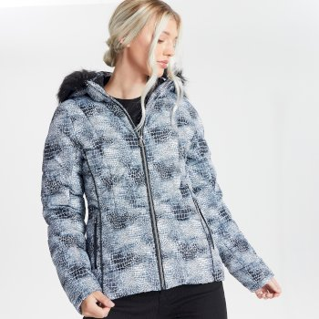 Dare 2b - Swarovski Embellished - Women's Glamorize II Waterproof Insulated Quilted Fur Trim Hooded Luxe Ski Jacket Monochrome