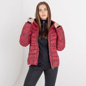 Dare 2b - Women's Glamorize II Waterproof Insulated Quilted Fur Trim Hooded Luxe Ski Jacket Lollipop Red Wild Thing Print