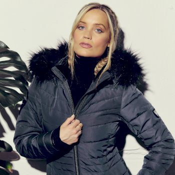 Dare 2b - Women's Striking Waterproof Insulated Quilted Fur Trim Hooded Parka Luke Ski Jacket Ebony Grey