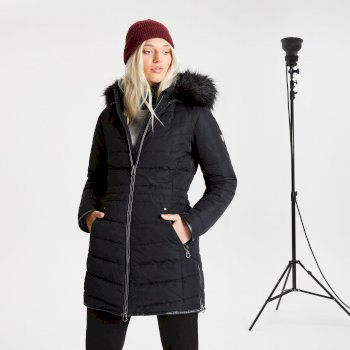 Dare 2b - Swarovski Embellished - Women's Striking Waterproof Insulated Quilted Fur Trim Hooded Parka Luke Ski Jacket Black