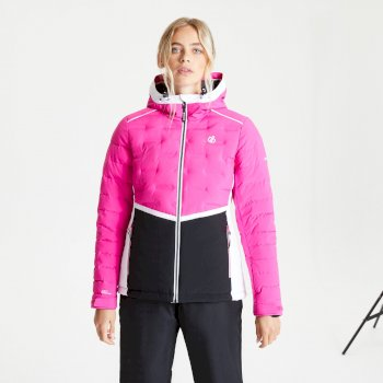 Dare 2b - Women's Vividly Waterproof Insulated Quilted Hooded Ski Jacket Active Pink Black