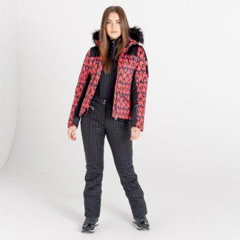 Dare 2b - Women's Prestige Waterproof Insulated Fur Trim Hooded Luxe Ski Jacket Lollipop Red Dogtooth Print