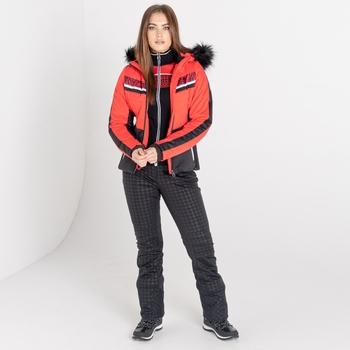 Dare 2b - Women's Dynamite Waterproof Insulated Fur Trim Hooded Luxe Ski Jacket Lollipop Red