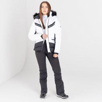 Dare 2b - Women's Bejewel II Waterproof Insulated Fur Trim Hooded Ski Jacket White Black