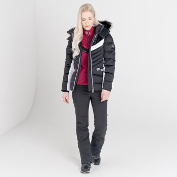 Dare 2b - Women's Bejewel II Waterproof Insulated Fur Trim Hooded Ski Jacket Black White