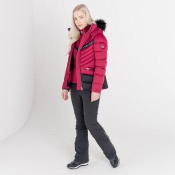 Dare 2b - Women's Bejewel II Waterproof Insulated Fur Trim Hooded Ski Jacket Beetroot Black