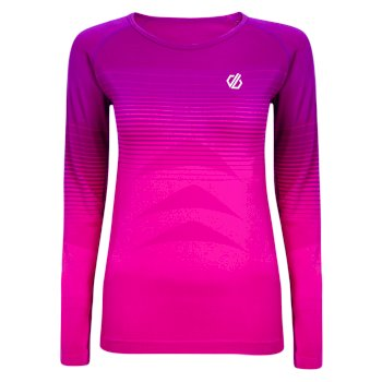 Dare 2b - Women's In The Zone Long Sleeved Performance Base Layer Top Cyber Pink Gradient