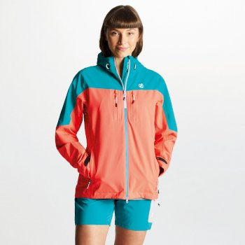 Dare 2b - Women's Surfiest AEP Seamsmart Lightweight Hooded Waterproof Jacket Fiery Coral Caribbean Green