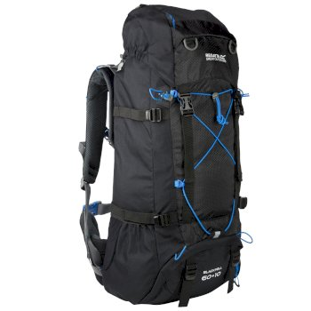 Blackfell II 60 + 10 Litre Expandable Backpack with Hydration Storage Pocket Black French Blue