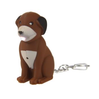 Animal Torch Keyring Dog Brown