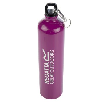 1 Litre Steel Bottle with Karabiner Lid Azalea Purple