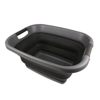 TPR Foldable Laundry Basket Ebony Grey