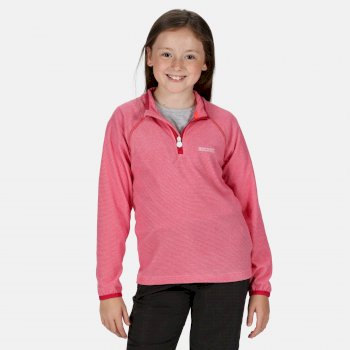 Kids' Loco Half Zip Mini Stripe Fleece Duchess Pink