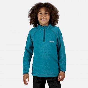 Kids' Loco Half Zip Mini Stripe Fleece Olympic Teal