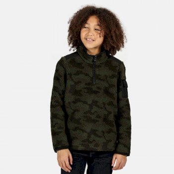 Kids' Macklin Half Zip Heavyweight Fleece Dark Khaki Black