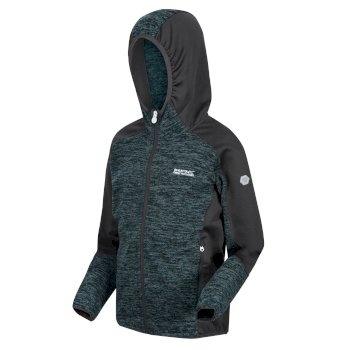 Kids' Dissolver III Marl Knit Full Zip Hooded Walking Fleece Deep Teal Seal Grey