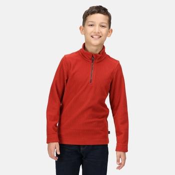 Kids' Cabe Half Zip Fleece Red Ochre Rib