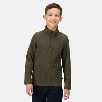 Kids' Cabe Half Zip Fleece Dark Khaki Rib