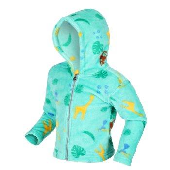 Kids' Jollie Full Zip Hooded Fleece Tropical Mint Jungle