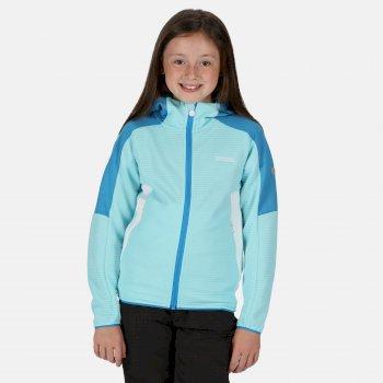Kids' Jenning Full Zip Hooded Walking Fleece Cool Aqua Blue Aster White