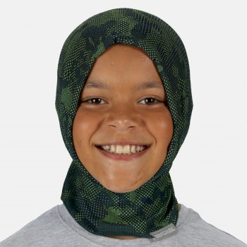 Kids Printed Multitube Scarf Mask Denim Lime