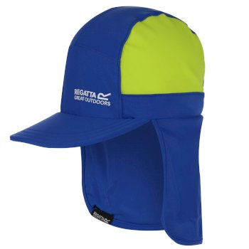 Kids' Protect Sunshade Neck Protector Cap Nautical Blue Electric Lime