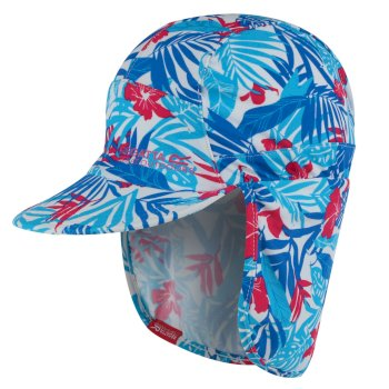 304370d7c Kids' Protect Sunshade Neck Protector Cap Blue Tropical Print