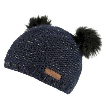 Hedy Lux Acrylic Knit Hat Navy Metallic
