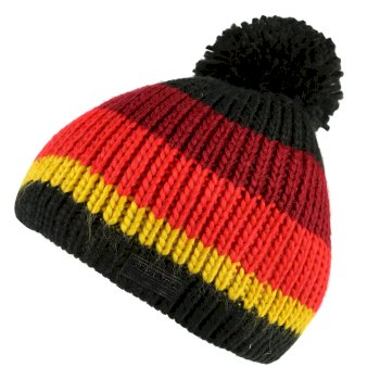 Davin Acrylic Knit Pom Pom Hat Black Multi