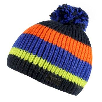 Davin Acrylic Knit Pom Pom Hat Navy Multi