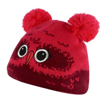 Kids' Animally III Knitted Beanie Hat Beetroot Owl