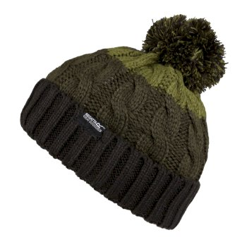 Kids' Davin III Cable Knit Bobble Hat Black Khaki