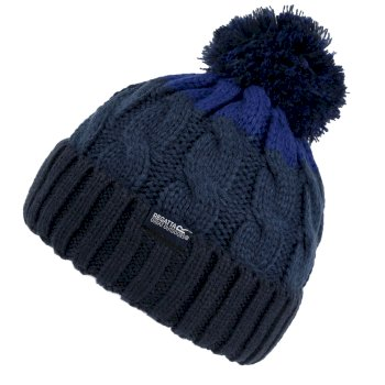 Kids' Davin III Cable Knit Bobble Hat Navy