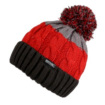 Kids' Davin III Cable Knit Bobble Hat Black Grey