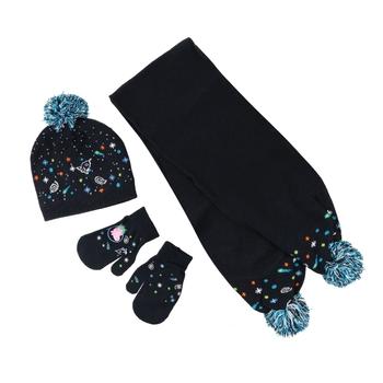 Peppa Pig Knitted Pom Pom Hat Scarf & Glove Set Navy