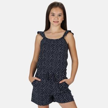 Kids' Dorsey Ruffle Strap Stripe Playsuit Navy Dot