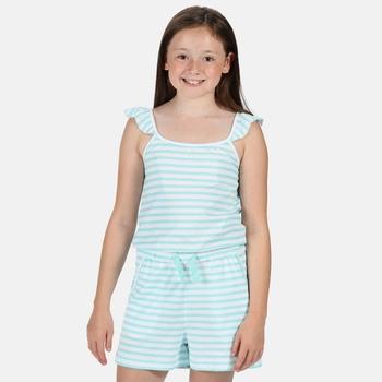 Kids' Dorsey Ruffle Strap Stripe Playsuit Aruba Blue Stripe